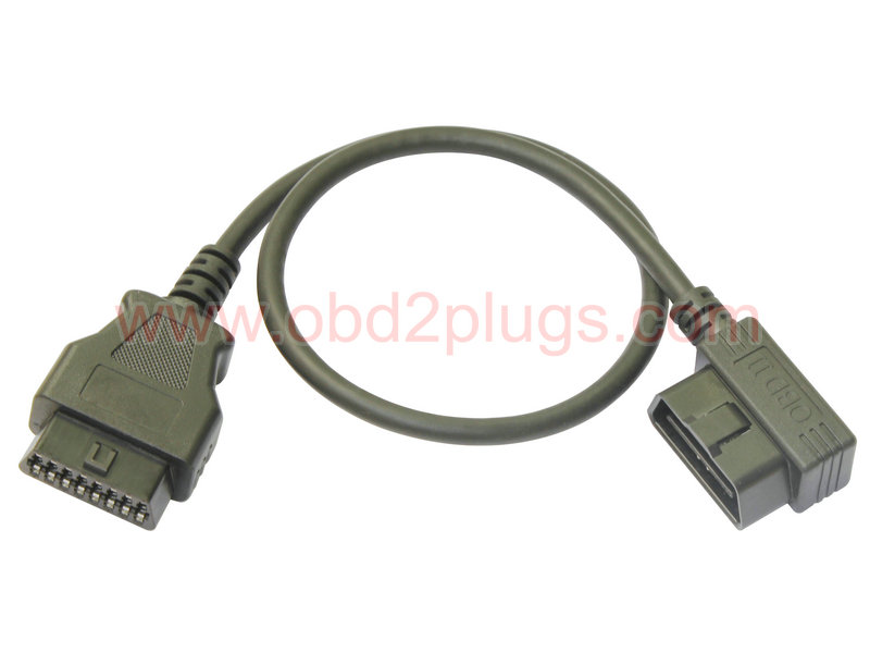 Low Profile OBD2 Male(Right-Angle) to Female Extension Cable
