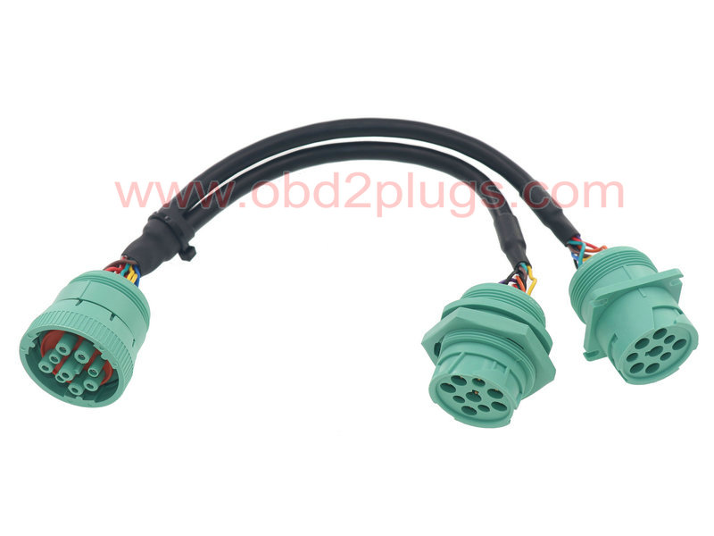 J1939-9Pin Type 2 splitter cable with Jamnut,L=1ft