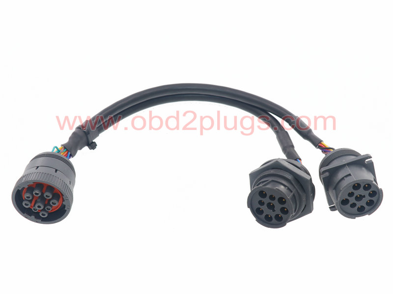 J1939-9Pin splitter cable with Jamnut,L=1ft