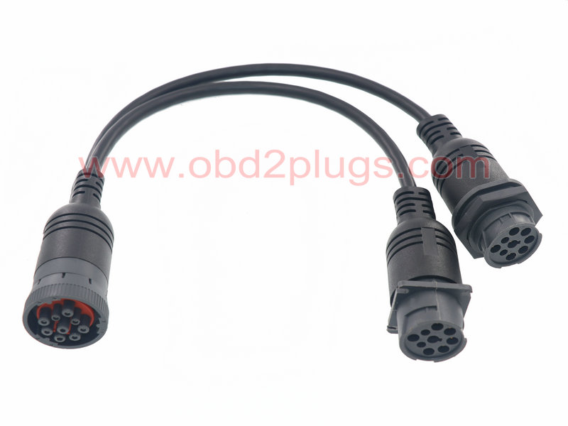 J1939-9Pin Type 1 splitter cable with Jamnut and over-moulding,l=1ft